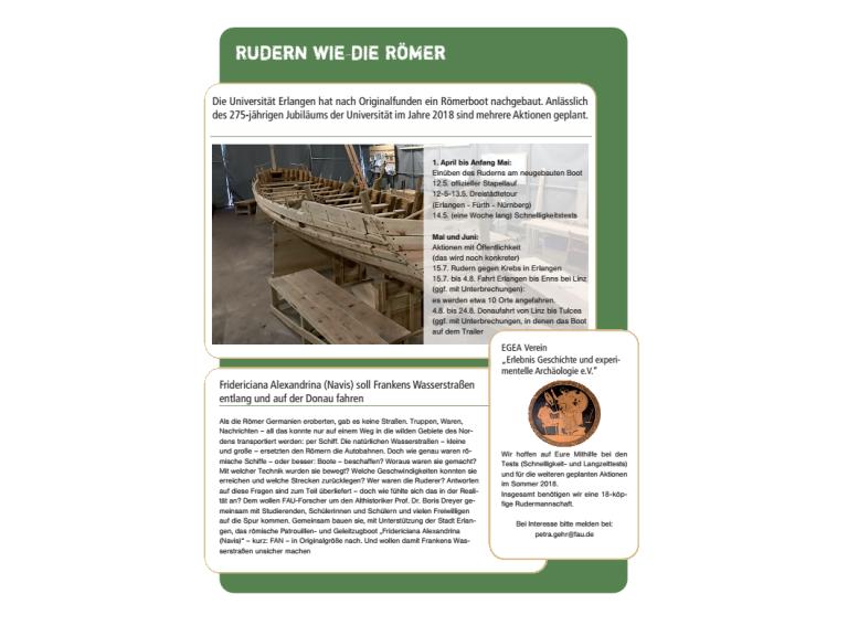 Aufruf: Mannschaft gesucht für Römerschiff
